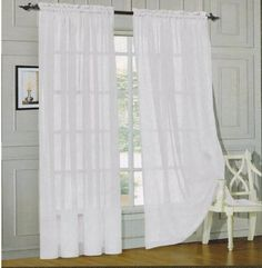 "Elegant Comfort® 2 Piece Solid Sheer 60"" x 84"" Window Curtains/drape/panels/treatment, White Elegant Comfort http://www.amazon.com/dp/B00LIU3YCM/ref=cm_sw_r_pi_dp_CdStvb0XSGHAQ"