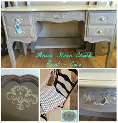 For Sale ~ Lovely twin bed set with desk and chair, painted in Annie Sloan Chalk Paint® Coco and accented in Old Ochre. Two twin headboards and footboards, with matching railings. Seat of desk chair is covered in new geometrical turquoise fabric. $495. Painted Furniture For Sale, Vintage Furniture, Twin Headboard, Headboards, Annie Sloan Chalk Paint Coco, Turquoise Fabric, Railings, Desk Chair, Custom Paint