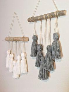 Tassel mobile. Yarn wall hanging. Woven wall hanging. Yarn tassels. Nursery decor. Modern boho home decor. #handmadehomedecor