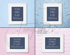 8x10 White Wood Portrait & Landscape Frames on Baby Blue Pink Wall, 4 Print Display Mockups, PNG PSD PSE, Opening 20x25cm, Movable frames