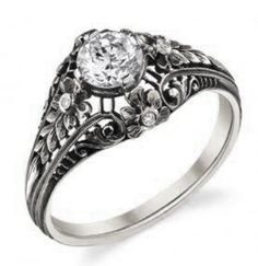diamond and 18K white gold engagement ring