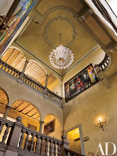 The president of the International University of the Second Renaissance has spent 25 years refurbishing the extravagant Villa San Carlo Borromeo in Milan Stair Well, Villas In Italy, Stairway To Heaven, 14th Century, Next At Home, Architectural Digest, Murano Glass, Beautiful Interiors, Stairways