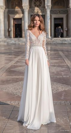 "Luce Sposa 2020 Wedding Dresses — ""Greece Campaign"" Bridal Collection luce sposa 2020 bridal long sleeves v neck heavily embellished bodice romantic modified soft a line wedding dress sheer button back sweep train mv — Luce Sposa 2020 Wedding Dresses Sheer Wedding Dress, Western Wedding Dresses, Wedding Dress Trends, Wedding Dresses Plus Size, Wedding Dress Sleeves, Colored Wedding Dresses, Best Wedding Dresses, Wedding Gowns, Dresses With Sleeves"