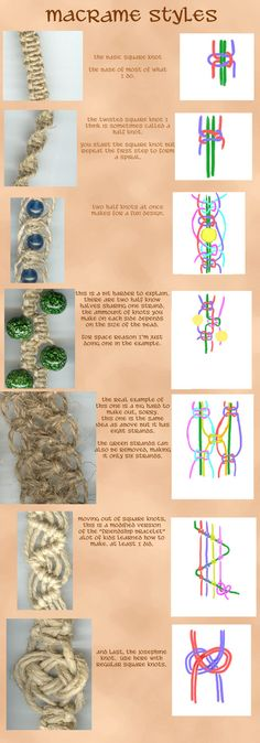 Macrame Styles by ~kaileighblue. I used to make hemp necklaces like this often. Love to add fun wood/glass beads
