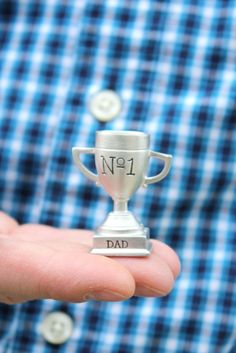 stocking stuffer for dad - miniature trophy - Tag.You're It Perfect unique Father's Day gift, gift for dad, grandpa, daddy, tiny number one trophy Funny Gifts For Him, Gifts For Coworkers, Gifts For Teens, Gifts For Wife, Girl Gifts, Fathers Day Gifts, Daddy Gifts, Polymer Clay Miniatures, Polymer Clay Projects