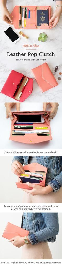 Oh my! This travel must-have is definitely going on my wishlist! The cute and colorful All-in-One Leather Pop Clutch is the new way to travel simply! It has plenty of pockets and space for my cards, cash, and coins as well as a pen, key, and even my passport! Why carry everything separately when I can have all my travel essentials in one convenient (and stylish) accessory? Don???t be weighed down by a heavy and bulky purse. Instead, be empowered to travel lightly and check out this sup...