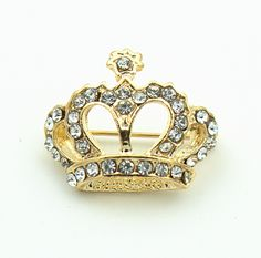Free Shipping Wholesale Pretty Diamante Crown Brooch Pin with Clear Rhinestones Crystals