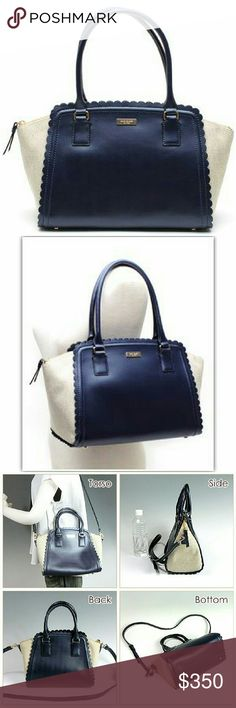 Kate Spade Large Marguerite Lilac Road Tote Gorgeous, like new condition kate spade tote in navy blue and beige with scallop ing and bow pattern interior. Sold out everywhere! kate spade Bags Totes