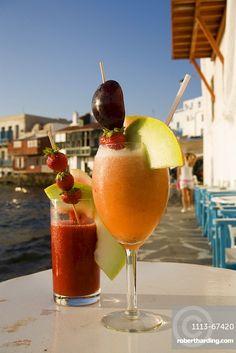 Mykonos Town, Mykonos Greece, Cocktail Drinks, Cocktails, Rice Bar, Fresh Fruit, Rum, Venice, Watermelon