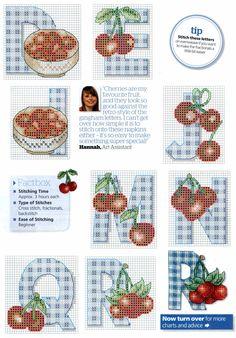 Cherries & Gingham Cross Stitch Alphabet Patterns