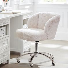 Bear in mind that once you sink into this soft, furry chair, you may never want to get up! It's fully cushioned and covered in faux polar bear fur and equipped with casters that allow you to move around. Tufted Desk Chair, Desk Chair Teen, Cool Desk Chairs, Desk Chair Comfy, Teen Desk, Swivel Chair, Wingback Chair, Chair Cushions, White Desk Chair