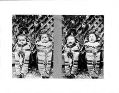 Montage of two photographs of two Washoe Indian babies in papoose carriers, ca.1898 :: California Historical Society Collection, 1860-1960