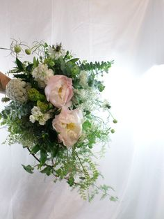 Wild garden style cascading wedding bouquet in creams, greens and blush pinks. Designed by Florist ilene, Hamilton, NZ Cascading Wedding Bouquets, Flowers Delivered, Garden Styles, Corsage, Gift Baskets, Hamilton, Blush Pink, Beautiful Flowers, Great Gifts