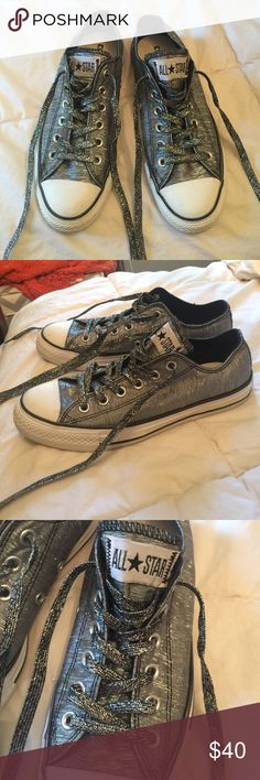 🔥Silver Metallic Converse These are in great shape, bought to wear with a Halloween costume and only worn 2 or 3 times! Converse Shoes Sneakers
