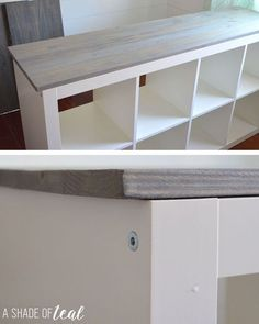 Want to update your IKEA Expedit or Kallax Bookshelf? Then this is an easy tutor. - Ikea DIY - The best IKEA hacks all in one place Cube Shelves, Ikea Shelves, Kallax Shelving, Kallax Desk, Ikea Shelf Hack, Ikea Bookshelf Cube, Ikea 4 Cube Storage, Diy Storage Cubes, Ikea Hack Bench