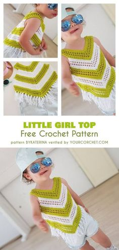 Crochet Top Patterns Little Girl Summer Top Free Crochet Pattern Crochet Summer Dresses, Summer Dress Patterns, Crochet Summer Tops, Black Crochet Dress, Crochet For Kids, Crochet Tops, Skirt Patterns, Easy Crochet, Poncho Au Crochet