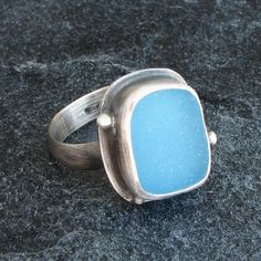 Sea Glass Jewelry Sea Glass Ring in True Turquoise Beach Glass Ring