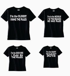 Super Funny t-shirt set for the boys in your family! Here is a great set of custom tee shirts!! One for the oldest brother, one for big brother, one