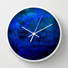 """Second Star to the Right"" Fine Art Abstract Acrylic Painting Colorful Blue Wall Clock Wall Art Home Decor Deep Indigo Navy Royal Blue Galaxy Stars cloudy night Sky by #EbiEmporium on #Society6, #colorful #fineart #clock #artclock #kitchen #kitchenclock #wallclock #time #ombre #midnight #blue #indigo #galaxy #comic #starrynight #stars #wallart #art #walldecor #decor #homedecor #contemporary #stylish #dorm"