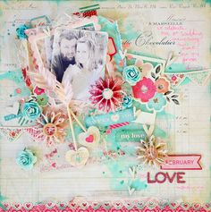 Anniversary scrapbook layout with a handmade shaker filled with leftover confetti from paper punching.