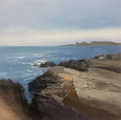 Chris Bushe RSW - October Walk to the Arches, Coull Point, oil on board