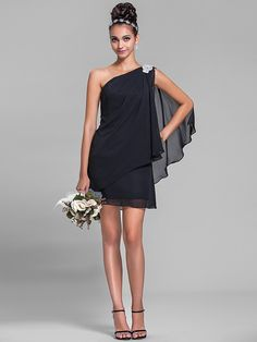Lanting Short/Mini Chiffon Bridesmaid Dress - Black Plus Sizes / Petite Sheath/Column One Shoulder - USD $94.99