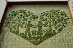 Embellished heart art - with Noolibird stamp