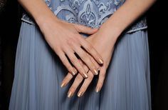 Tadashi Shoji Spring 2015 runway nail art by Butter London's Katie Jane Hughes at New York Fashion Week. Nude nails with a gold mesh-like grid accent overlay