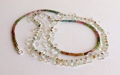 Stunning Necklace Clear Topaz and Shades of Tourmaline