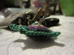 all these little creations, I had to make something for myself :-)  tiny little sea turtle amigurumi keychain