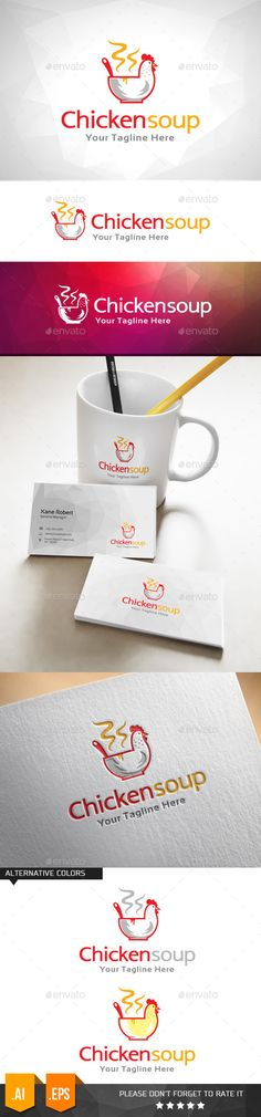 Chicken Soup Food Logo Design Template Vector #logotype Download it here: http://graphicriver.net/item/chicken-soup-food-logo-template/11000064?s_rank=1365?ref=nexion