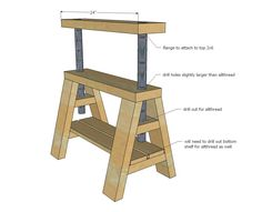 Ana White   Build a Modern Indsutrial Adjustable Sawhorse Desk to Coffee Table   Free and Easy DIY Project and Furniture Plans