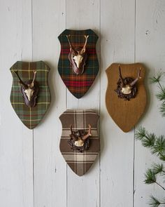 Plaques with Faux Antlers by French Laundry Home at Horchow. Loving the tartan Scottish Decor, Antler Mount, Vignette Design, Plaid Decor, Lodge Decor, Lodge Style, Deer Antlers, Reno, Horns