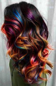 dark hair with coloured highlights