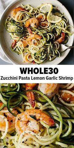 Diet Recipes Zucchini noodles pasta with lemon garlic shrimp is a delicious, gluten-free, paleo version of shrimp scampi and linguini. Traditional pasta is replaced with zucchini noodles or zucchini pasta for a lighter, healthier, paleo recipe. Zoodle Recipes, Seafood Recipes, Diet Recipes, Healthy Recipes, Gluten Free Recipes For Lunch, Healthy Options, Healthy Foods, Whole30 Shrimp Recipes, Seafood Pasta