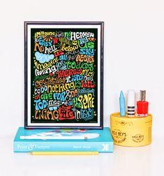 Imaginez la chanson paroles Art Print, Illustration de la chanson Rock, musique Art Poster, impression typographie psychédélique (John Lennon), main en lettres Art Print