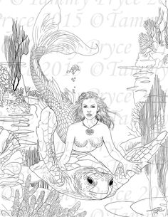 Fantasy Mermaid and Turtle Adult Coloring Page Digi Stamp Mermaid Coloring Book, Fairy Coloring Pages, Adult Coloring Book Pages, Free Coloring Pages, Coloring Books, Printable Coloring, Coloring Sheets, Turtle Coloring Pages, Mandala Coloring