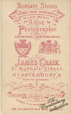 J Craik, Canterbury, England (all portraits taken instantaneously by a new process) - version 3 (c.1881-1888)