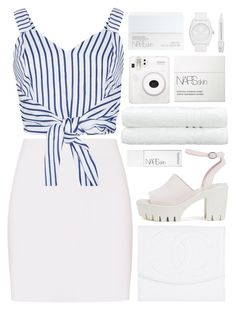 """sand, salt, sea"" by charli-oakeby ❤ liked on Polyvore featuring Helmut Lang, WithChic, Chanel, Nly Shoes, NARS Cosmetics, Linum Home Textiles, Fuji, adidas Originals and Sephora Collection"