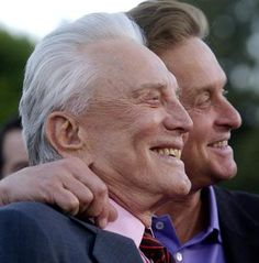 Kirk Douglas with his son Michael --they are mere clones of each other and have always been close.