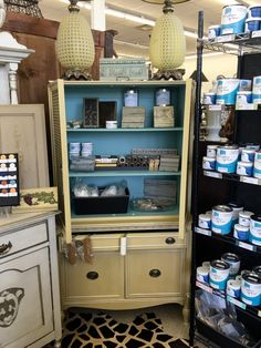 "Cupboard Painted In Farmhouse Paint  Painted In Dijon and Turquoise Farmhouse Paint  33"" Wide x 16"" Deep x 63"" High  $425  Purchase Farmhouse Paint at Top Drawer Antiques  Dealer #88  Top Drawer Antiques and Consignments 10622 E. Northwest Hwy. Dallas, TX 75238"