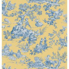 Brewster Wallcovering Blue and Yellow Toile Wallpaper - Lowe's
