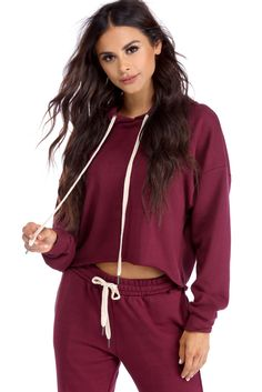 Burgundy Casual Babe Cropped Hoodie