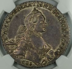 1763 CNB HK Russia 1 Rouble Silver Coin NGC AU-55 Russian | eBay