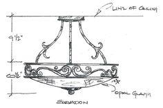 Custom Semi-Flush Ceiling Fixture #079 - Drawing