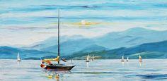 Blue sky - PALETTE KNIFE Oil Painting On Canvas By Leonid Afremov, #sea_landscape_painting