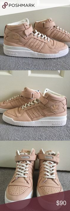 new style dd586 a10a3 Adidas Forum Mid-Top Adidas Forum Mid-Top Refined, Tanish Pink in Color  👅Summer Flavors Adidas Shoes Sneakers