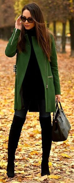 #thanksgiving #outfits Green Coat // Velvet Knee High Boots // Black Leather Tote // Black Turtleneck Dress