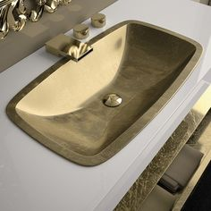 Maestro Bath Oceano Modern Rectangular Drop-in Bathroom Sink Sink Finish: Gold Leaf Drop In Bathroom Sinks, Modern Bathroom Sink, Wall Mounted Bathroom Sinks, Steam Showers Bathroom, Bathrooms, Master Bathroom, Bathroom Plumbing, Bathroom Hardware, Plumbing Fixtures