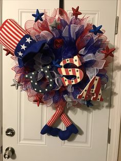 4th of July Wreath made by me, Uncle Sam legs and hats